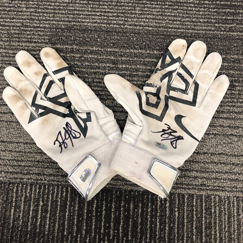 Photo of San Francisco Giants - 2018 Team Issued and Autographed Batting Gloves - #5 Nick Hundley