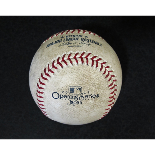 Photo of Official Game Used Baseball from Japan Series Pitcher: Felix Hernandez, (Pitch, Foul Ball) (Mariners vs. A's) 3-28-2012