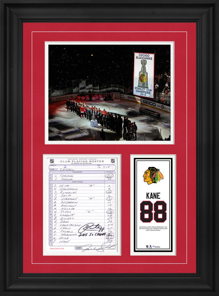 Patrick Kane Chicago Blackhawks Framed Autographed Original Line-Up Card from October 7, 2015 vs. New York Rangers with