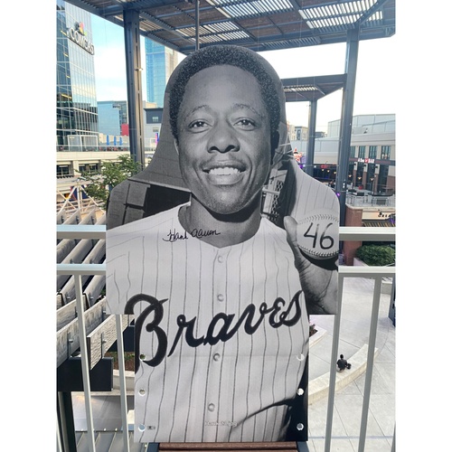 MLB Authenticated Autographed Cardboard Cutout photo of Hank Aaron who became the third player in history to hit 600 home runs