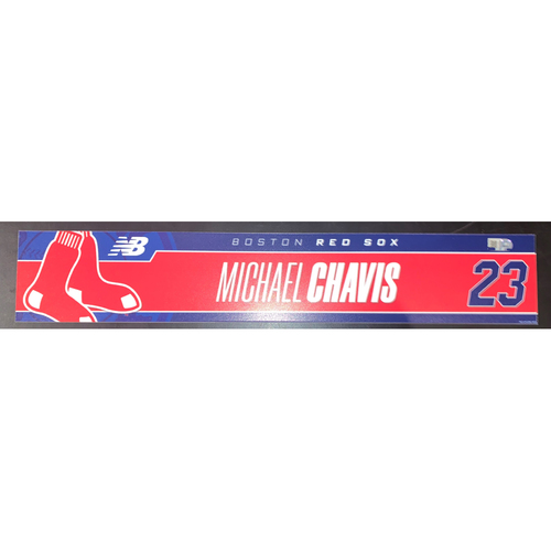 Photo of Michael Chavis May 12, 2021 Game Used Locker Tag