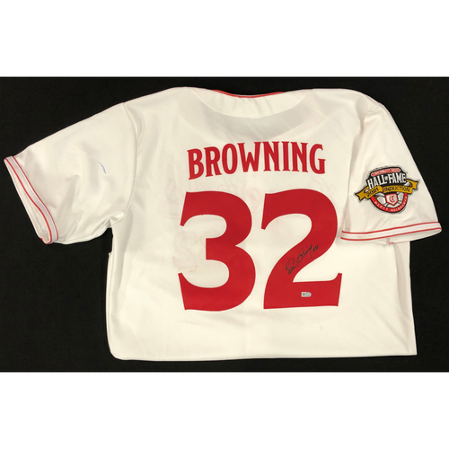 Photo of Tom Browning - AUTOGRAPHED Game Used Jersey: Reds Hall of Fame Legends Game