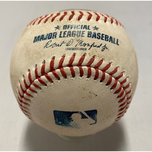 Photo of 2021 Game Used Baseball used on 9/4 vs. LAD - B-5: Urias to Bryant - Single to SS