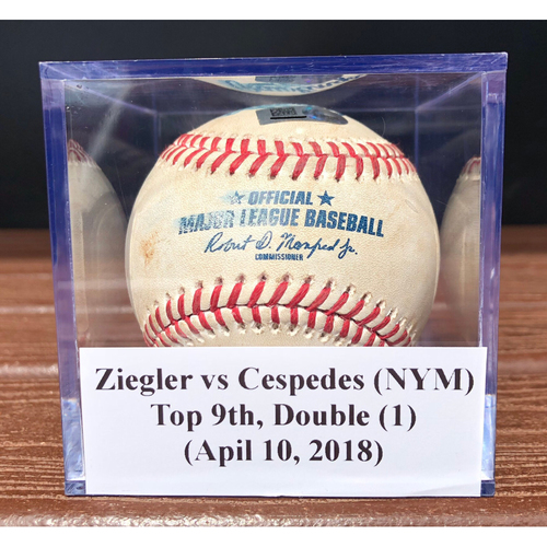 Photo of Game-Used Baseball: Brad Ziegler vs Yoenis Cespedes (NYM), Top 9th, First Double of 2018 (April 10, 2018)