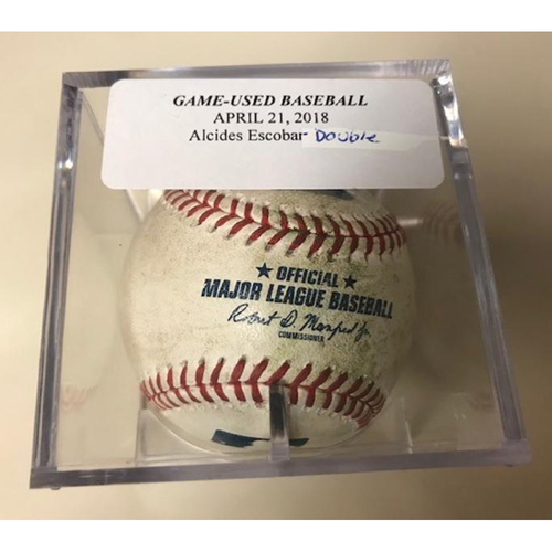 Photo of Game-Used Baseball: Alcides Escobar Double