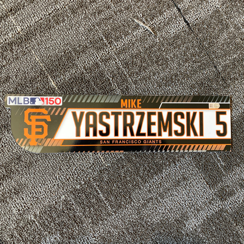 Photo of 2019 Regular Season Game-Used Locker Tag - #5 Mike Yastrzemski