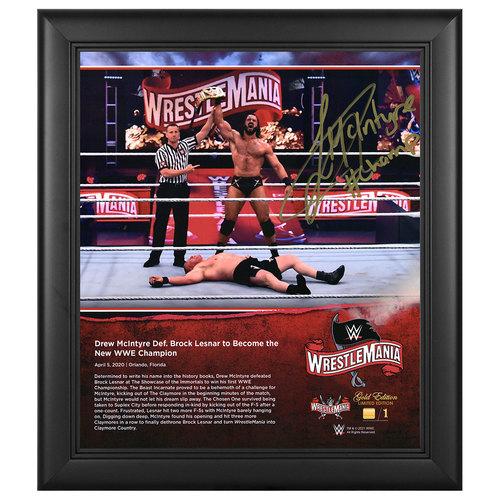 Drew McIntyre SIGNED WrestleMania 36 WrestleMania Gold Edition Plaque (#1 of 1)