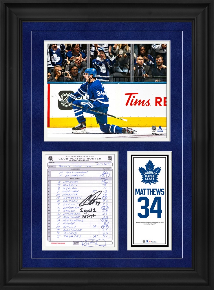 Auston Matthews Toronto Maple Leafs Framed Autographed Original Line-Up Card from April 15, 2019 vs. Boston Bruins with