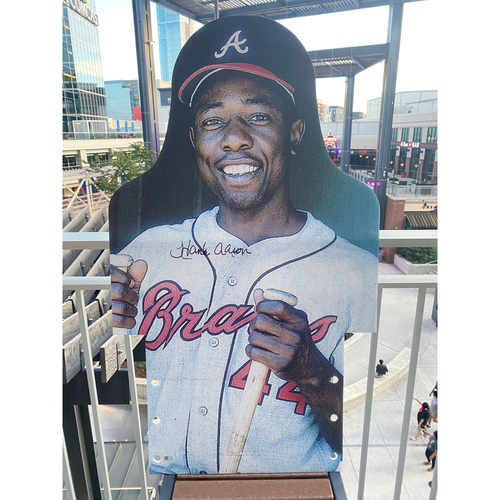Photo of MLB Authenticated Autographed Cardboard Cutout photo of Hank Aaron leading the Braves to the first NL West Division championship in 1969, where he homered in all three games in the NLCS against the Mets