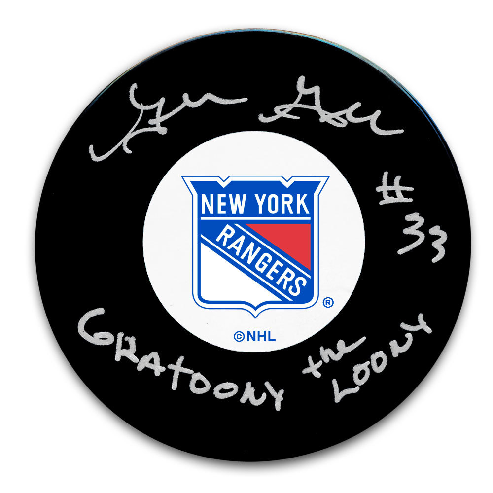 Gilles Gratton New York Rangers Gratoony The Loony Autographed Puck