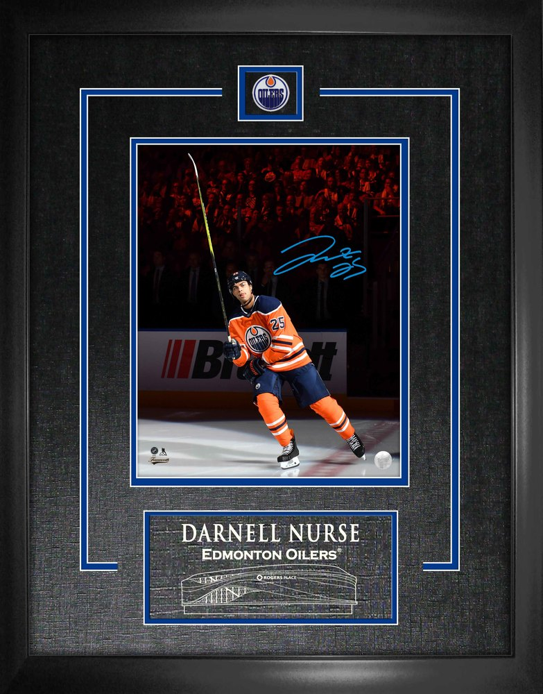 Darnell Nurse - Signed 8X10 Etched Mat Oilers Stick Salute