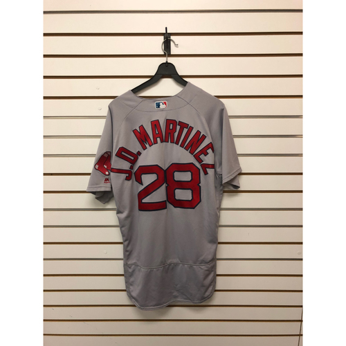 Photo of JD Martinez Game-Used April 18, 2018 Road Jersey - 4 for 5