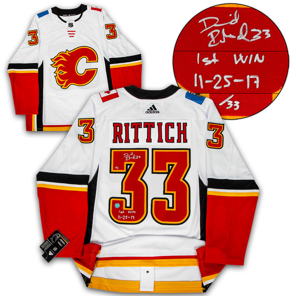 David Rittich Calgary Flames Signed & Dated 1st NHL Win Adidas Authentic Hockey Jersey #/33