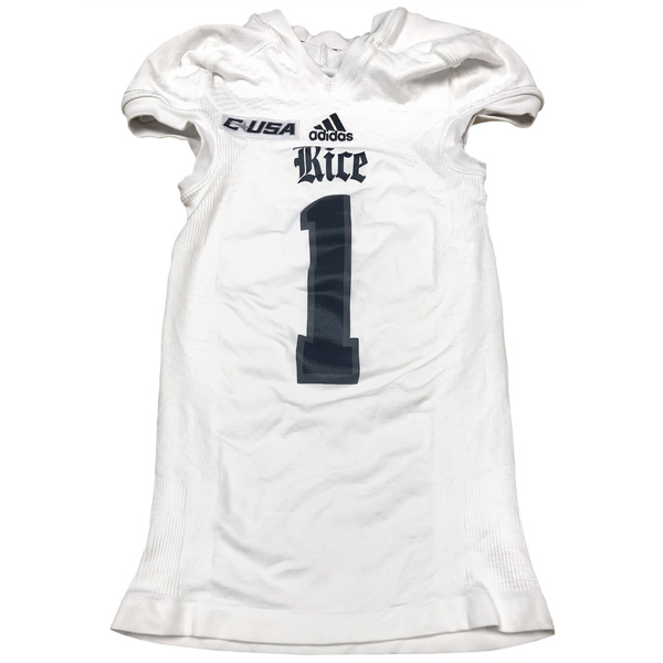 Photo of Game-Worn Rice Football Jersey // White #77 // Size XL