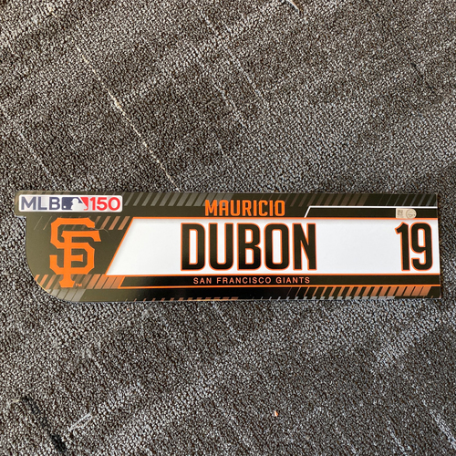 Photo of 2019 Regular Season Game-Used Locker Tag - #19 Mauricio Dubon