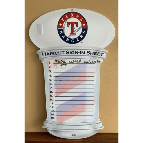 Photo of Haircut Sign-In Sign Displayed in Barber's Room in Texas Rangers Home Clubhouse at Globe Life Park