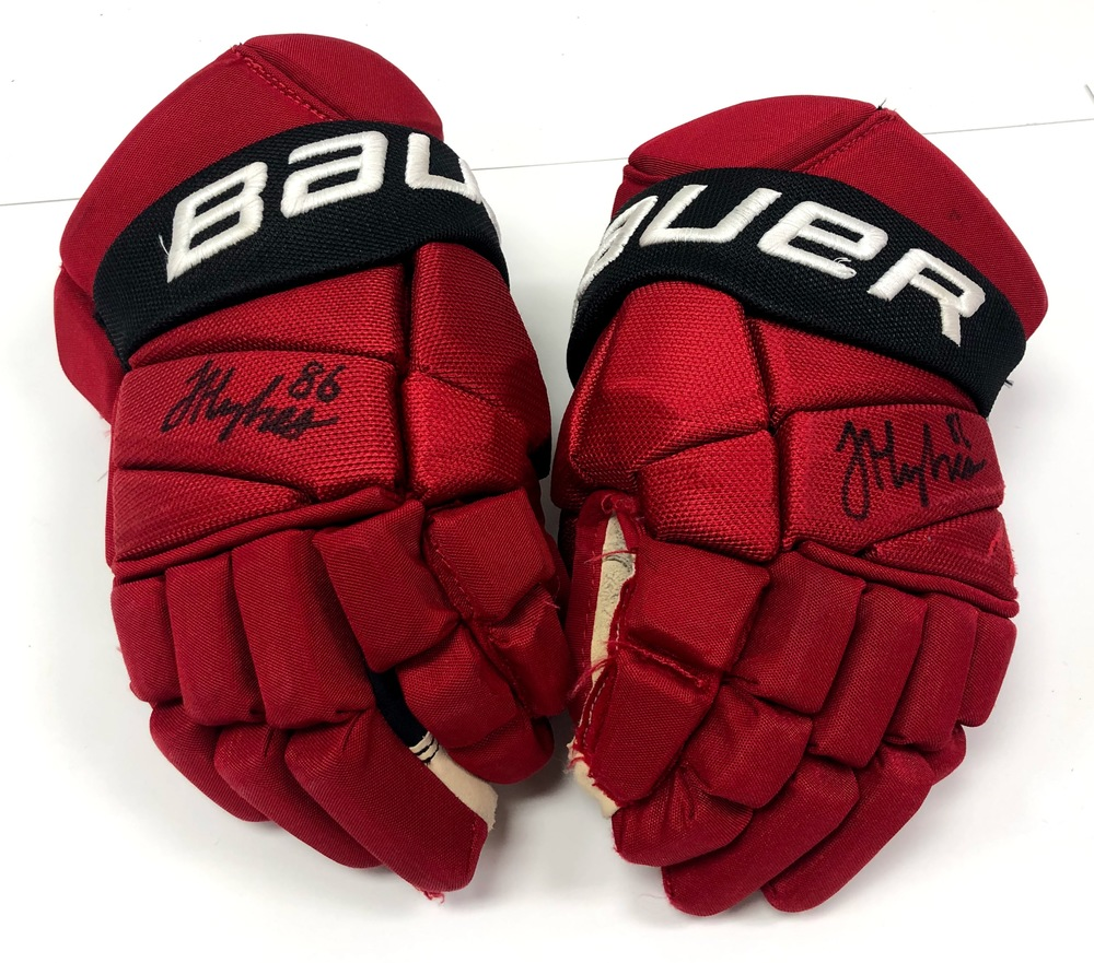 #86 Jack Hughes Game Used Autographed Gloves - New Jersey Devils