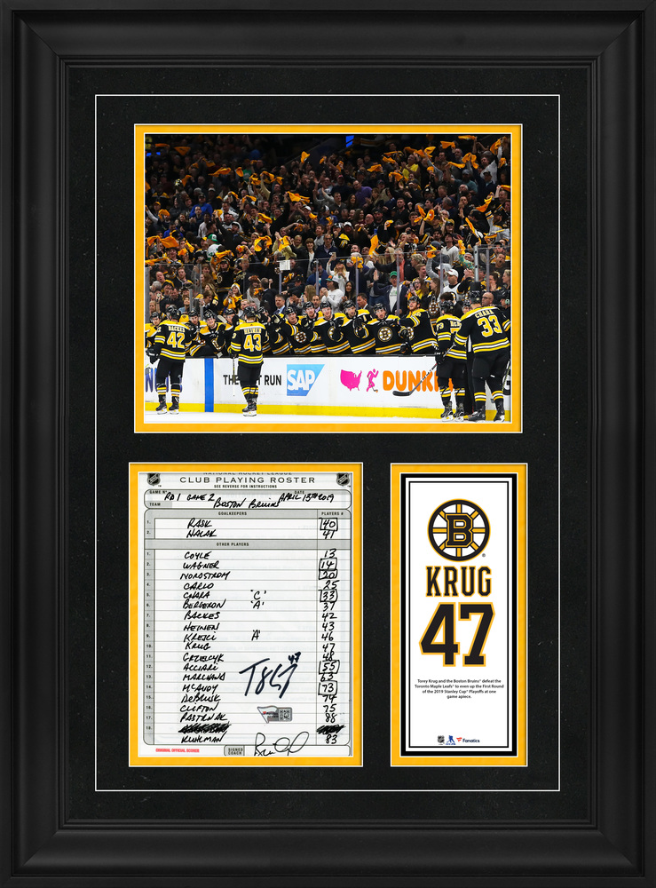 Torey Krug Boston Bruins Framed Autographed Original Line-Up Card from April 13, 2019 vs. Toronto Maple Leafs - First Victory of the 2019 Stanley Cup Playoffs