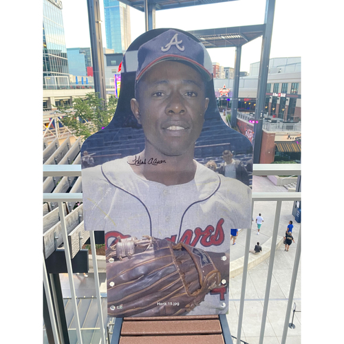Photo of MLB Authenticated Autographed Cardboard Cutout photo of Hank Aaron who became the 7th player in history to hit 500 career home runs when he reached that mark in 1968