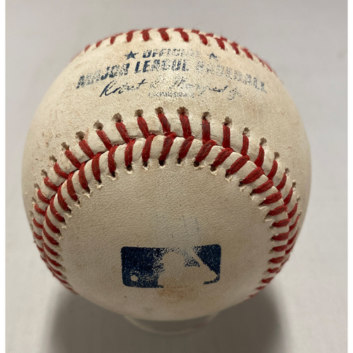 Photo of 2021 Game Used Baseball used on 8/1 vs. HOU - T-3: Webb to Brantley - Ground Out to 3rd Base (Bryant) - Kris Bryant Giants Debut
