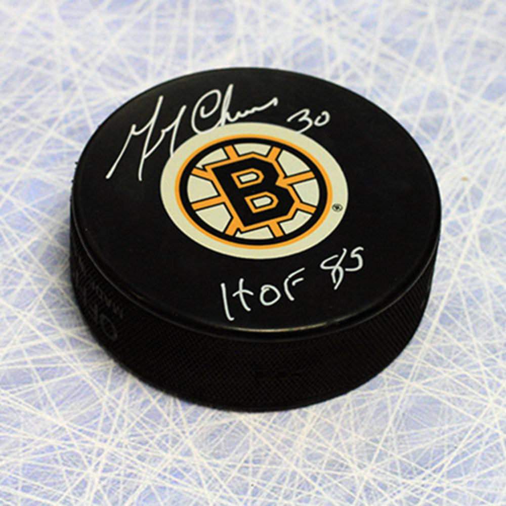 Gerry Cheevers Boston Bruins Autographed Hockey Puck with HOF Inscription