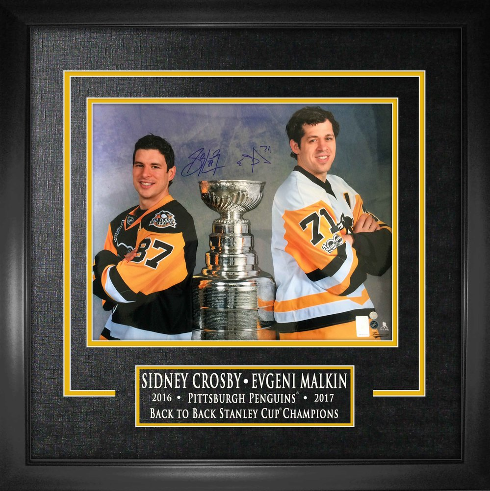 Sidney Crosby & Evgeni Malkin - Dual-Signed 16x20 Etched Mat Back to Back Champions