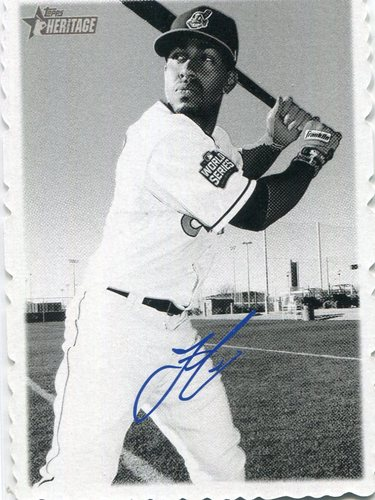 Photo of 2018 Topps Heritage '69 Topps Deckle Edge #5 Francisco Lindor   Facsimile autograph