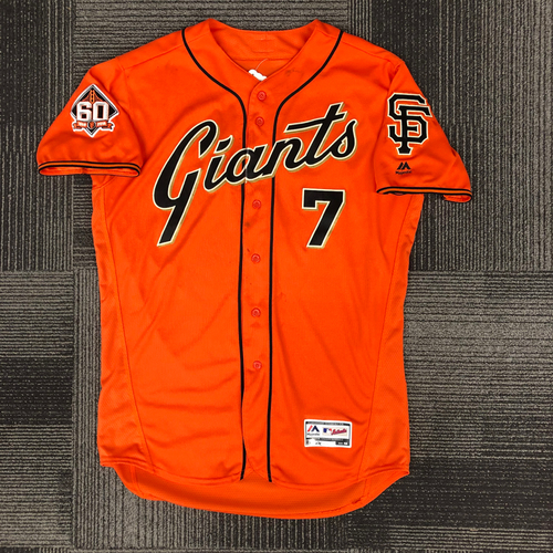 Photo of San Francisco Giants - 2018 Holiday Deal! - 2018 Game Used Orange Friday Alternate Home Jersey - worn by #7 Gorkys Hernandez on 9/28/18 vs LAD - size 48