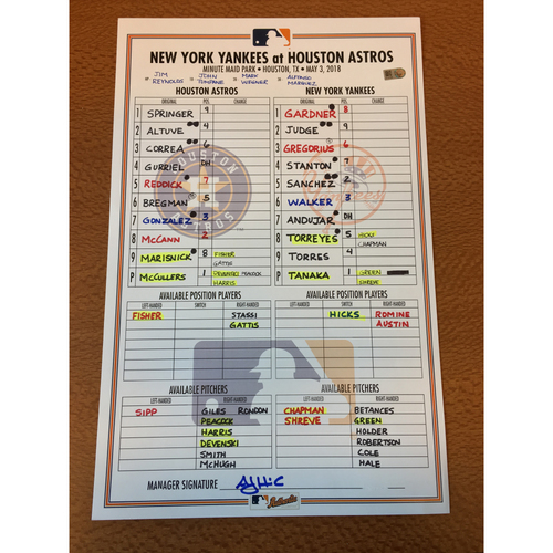 Photo of 2018 Game-Used Lineup Card - 5/3/18 vs NYY