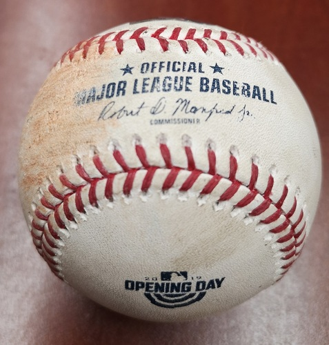 Photo of Authenticated Game Used Opening Day Baseball - March 28, 2019 vs Tigers: Ball by Marcus Stroman to Jordy Mercer (T6)