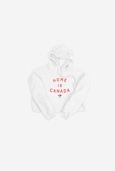 Toronto Blue Jays Women's White Home is Canada Cropped Hoodie by Peace Collective