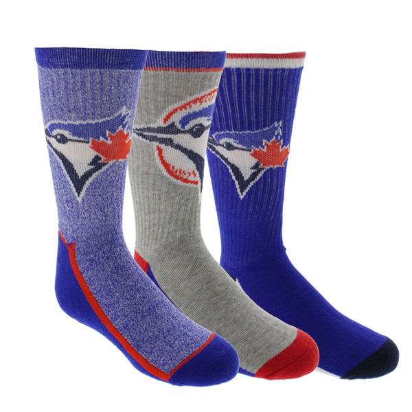 Toronto Blue Jays Youth 3 Pack of Premium Sport Crew Socks by Gertex