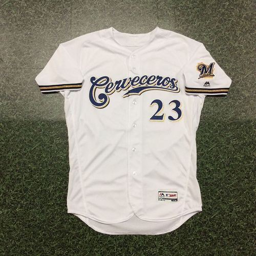 Photo of Jordan Lyles 2019 Team-Issued Cerveceros Jersey