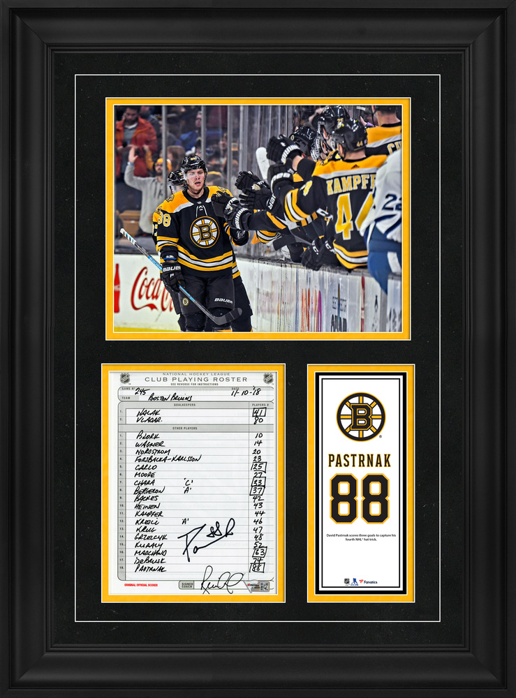 David Pastrnak Boston Bruins Framed Autographed Original Line-Up Card from November 10, 2018 vs. Toronto Maple Leafs - Fourth NHL Hat Trick