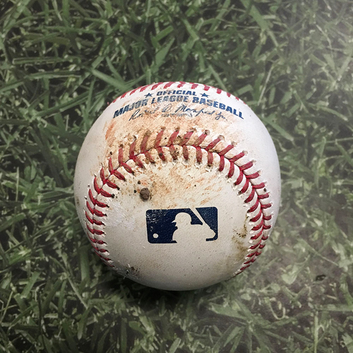 Photo of Game-Used Baseball LAD@MIL 04/29/21 - Trevor Bauer - Jackie Bradley Jr: Double