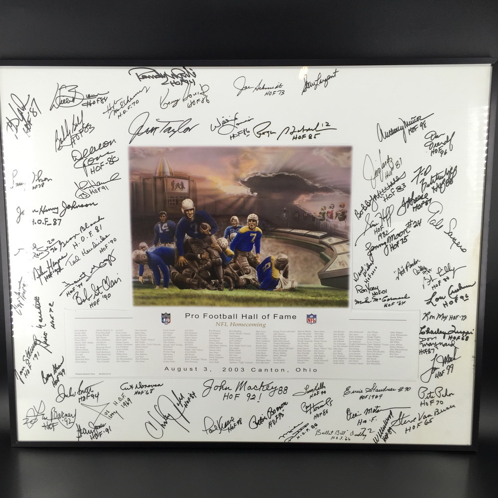 HOF - 40th anniversary HOF print signed by over 60 players including Roger staubach, Jim Taylor, Deacon Jones, Sam Huff, Gale Sayers, Ace Parker, Bob Lilly, Ollie Matson. Cole Hornig, Art Donavon, Mike Ditka, Forrest Greg, John Henry-Johnson and Gene Upsh
