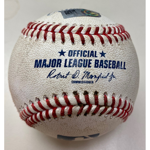 Photo of Game-Used Baseball: Jose Ramirez RBI Cleveland Indians Double  (MLB AUTHENTICATED)
