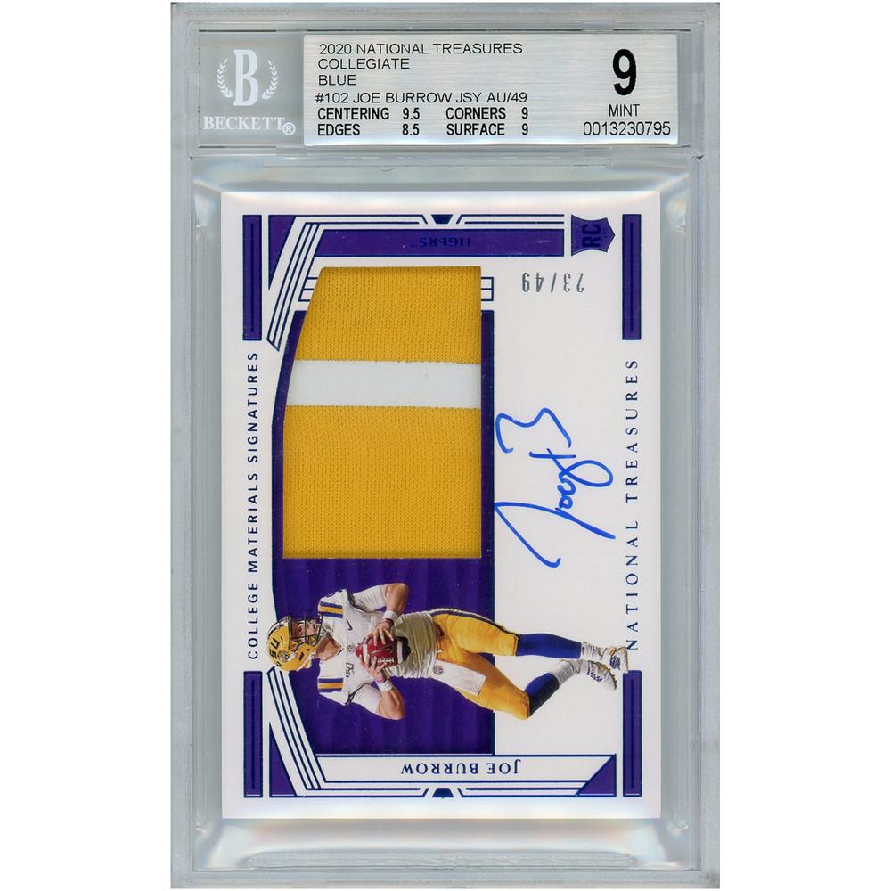 Joe Burrow LSU Tigers Autographed 2020 Panini National Treasures Collegiate Relic RC #102 Card (BCS 9) - #2/49