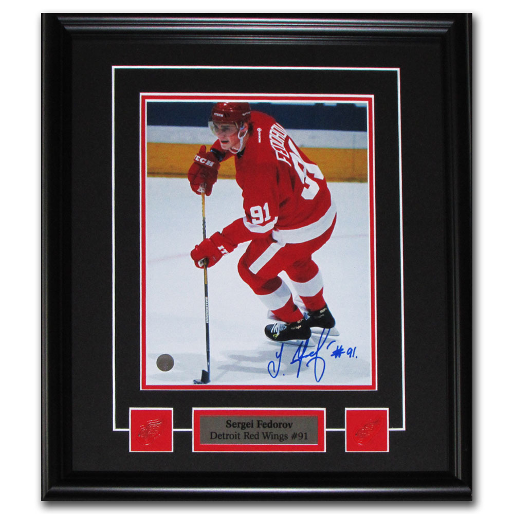 Sergei Fedorov Autographed Detroit Red Wings Framed 8X10 Photo