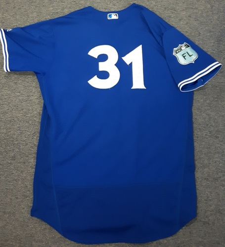 Authenticated Game Used Spring Training Jersey (March 22, 2017 vs Detroit Tigers) - #31 Joe Biagini. Biagini was the winning pitcher and had 1 IP, giving up 3 hits, 3 runs (2 earned), with 2 Strikeouts.