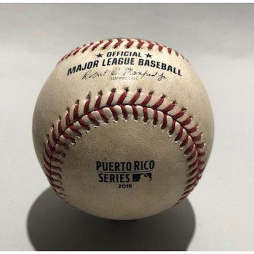 Photo of 2018 Puerto Rico Series: Pitcher - Cody Allen, Batter - Jason Castro (Strikeout) Batter - Brian Dozier (Pitch in dirt) - 4/17/18