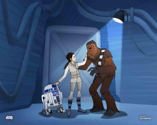 Princess Leia Organa, Chewbacca and R2-D2