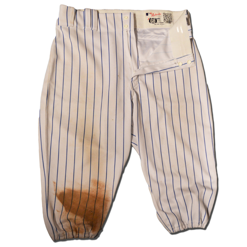 Photo of Jeff McNeil #68 - Game Used White Pinstripe Pants - Mets vs. Marlins - 9/13/18