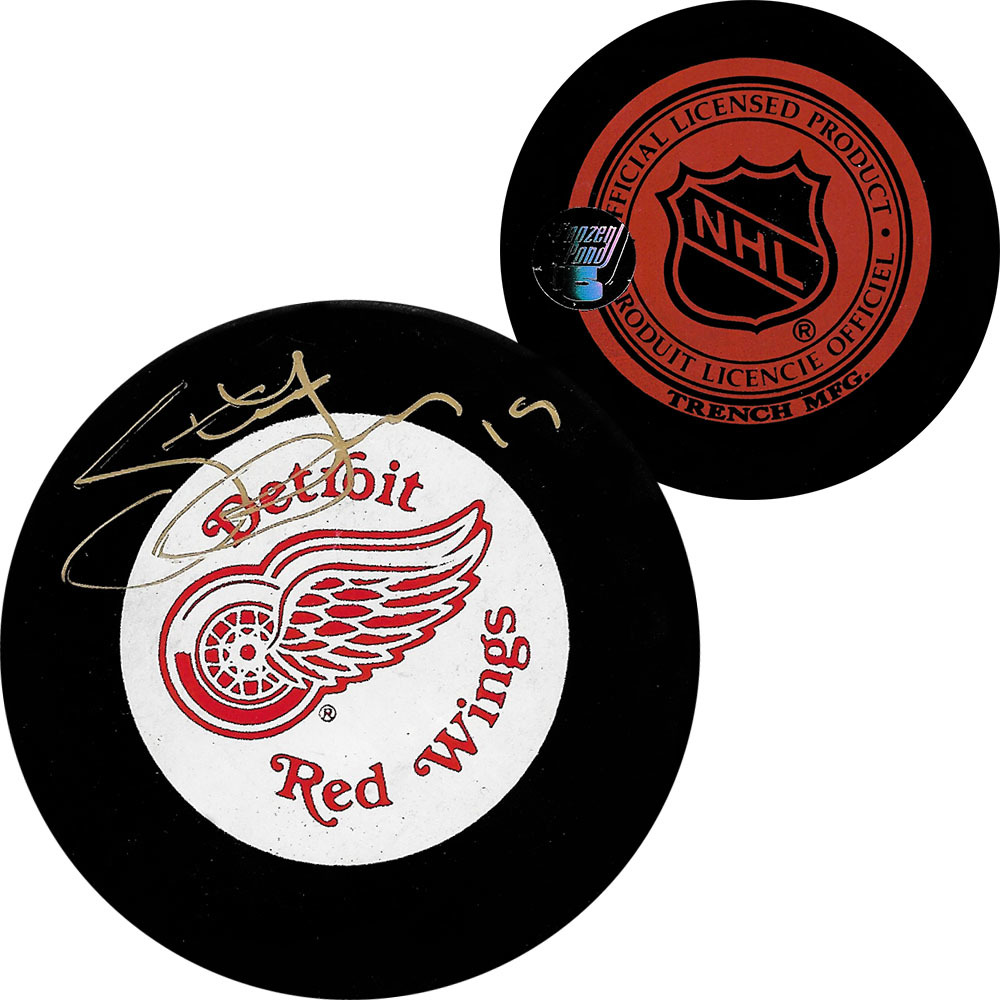 Steve Yzerman Autographed Detroit Red Wings Vintage Trench Puck