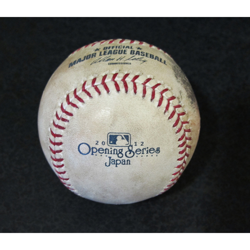 Photo of Official Game Used Baseball from Japan Series Pitcher: Brandon McCarthy, Batter: Chone Figgins (Foul Ball) (Mariners vs. A's) 3-28-2012