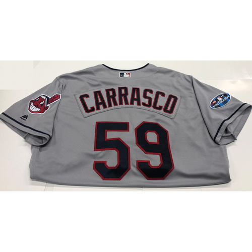 Photo of Carlos Carrasco 2018 Postseason Road Team-Issued Jersey