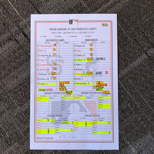 Photo of 2019 Lineup Card - San Francisco Giants vs. Miami Marlins - 9/15/19 - Bruce Bochy Career Win #1998 - Giants Win 2-1 - Mauricio Dubon Hits Career HR #3 - Mike Yastrzemski Scores on Wild Pitch