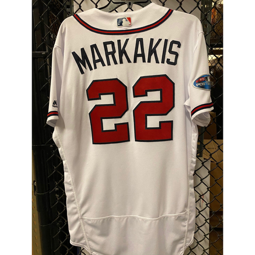 Photo of Nick Markakis Game Used Jersey from 2018 NLDS - Worn 10/7/2018