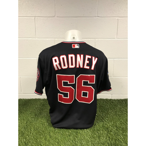 Photo of Game-Used Fernando Rodney 2019 Navy Script Jersey with Postseason Patch