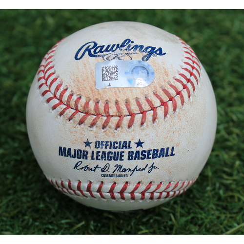 Photo of Game-Used Baseball: Adalberto Mondesi 30th Career Double and 96th Career RBI (CWS @ KC - 6/7/19)